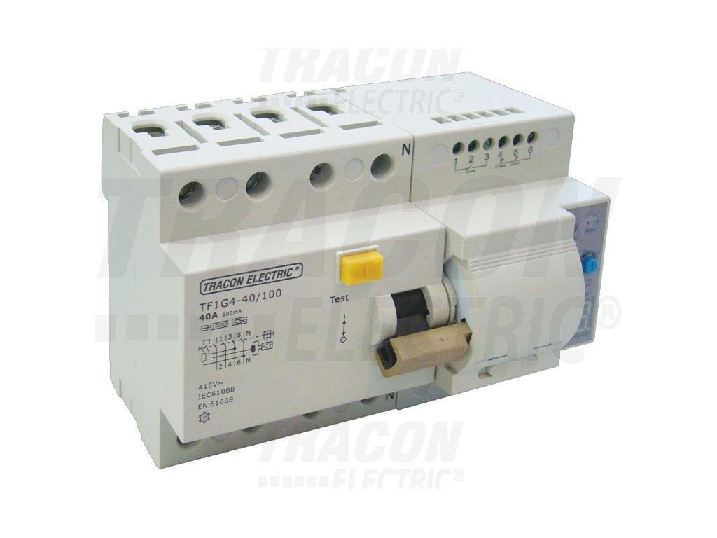 Prúdový chránič s funkciou automatického znovuzapnutia, 4P 40A, 100mA, 10kA, A / AC