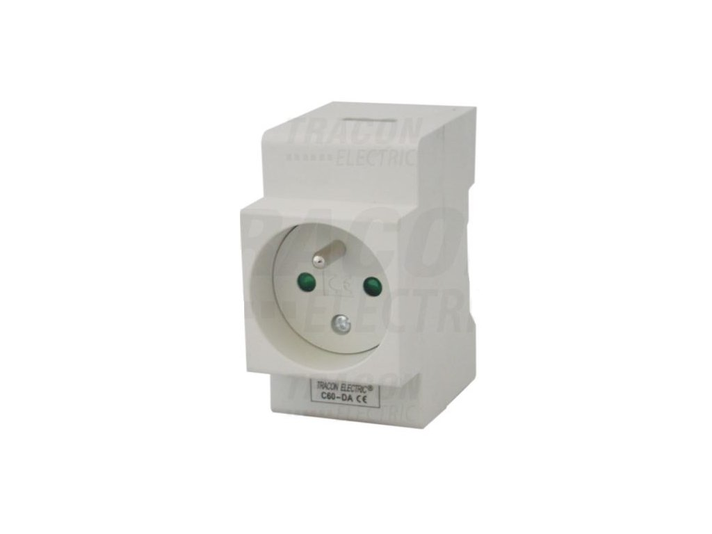 Modulárna zásuvka na DIN lištu 230V 16A 2P+E C60-DA