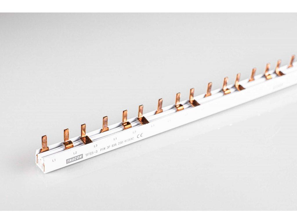 Prepojovacia lišta kolíková 3P 56modul 100cm TFSS-3