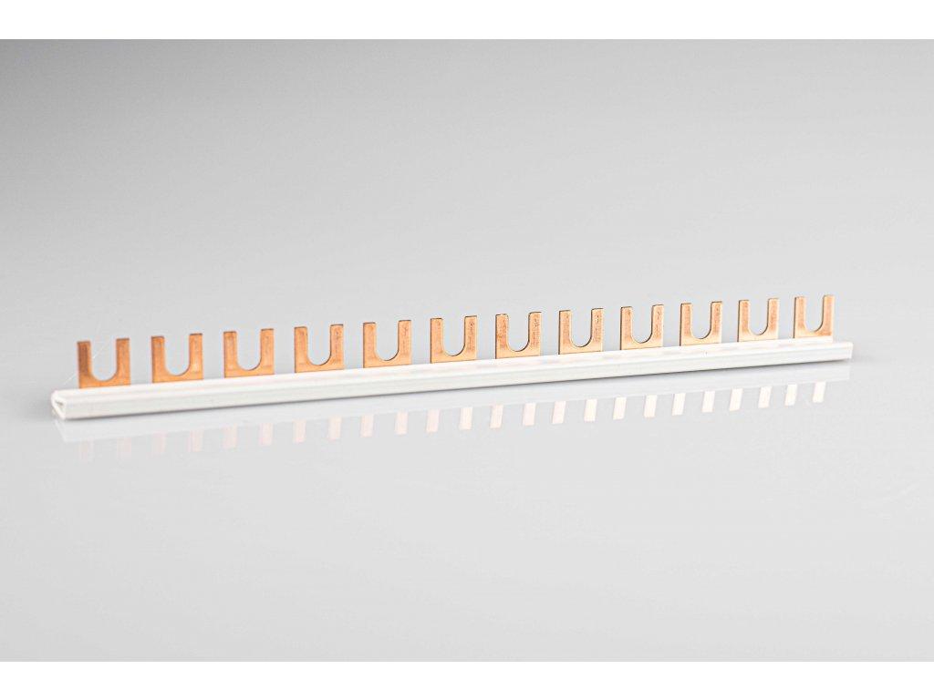 Prepojovacia lišta vidlicová 1P 12modul 215mm TFSS-1V-12