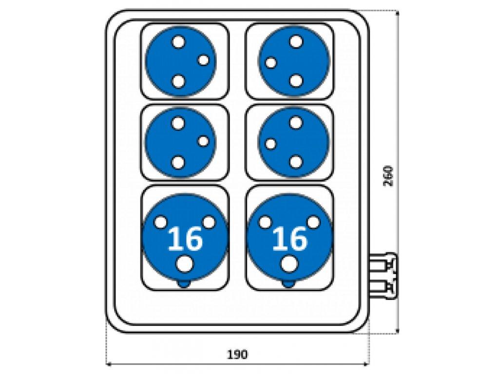 Rozvodnica zásuvková ROS 1607 2x16A/230 3P+4x230V SEZ DK