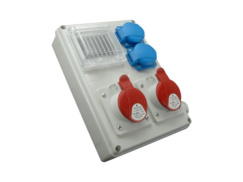 Rozvodnica zásuvková s možnosťou istenia 4P ROS-I 1602A 1x32A/400V+1x16A/400V+2x230V SEZ DK