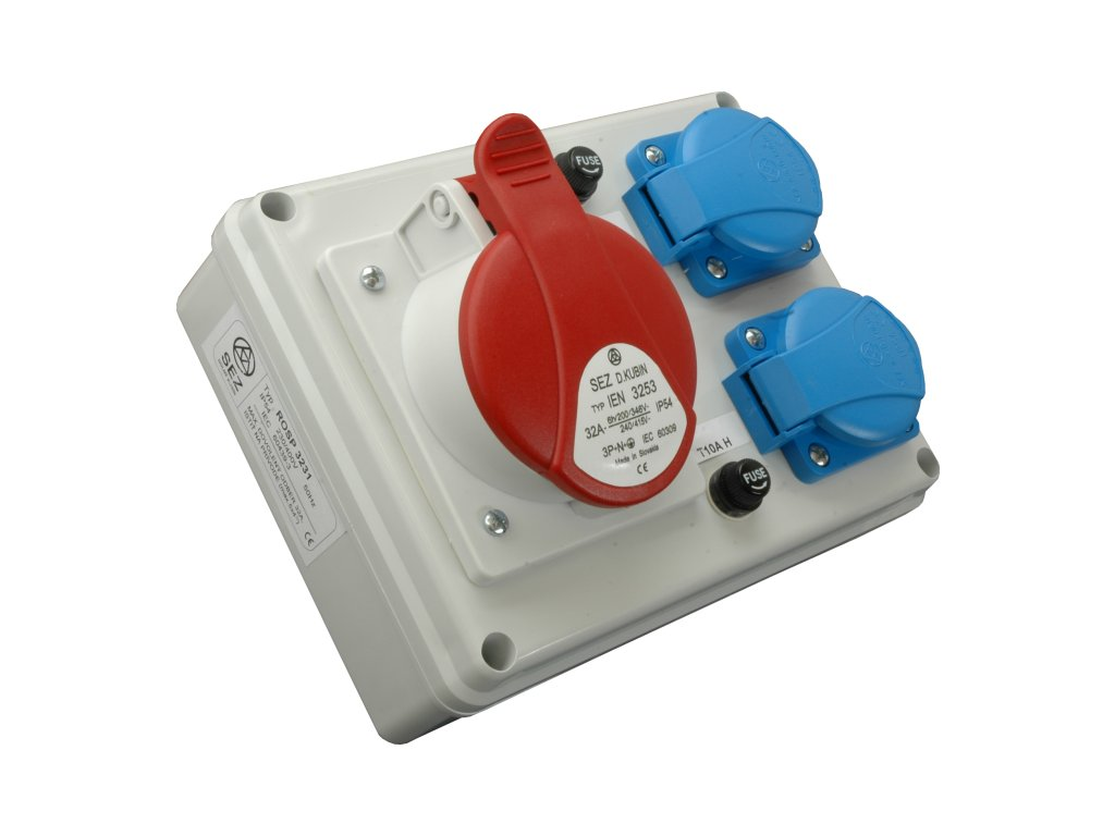 Rozvodnica zásuvková 4P ROSP 3230 1x32A/400V+2x230V SEZ DK