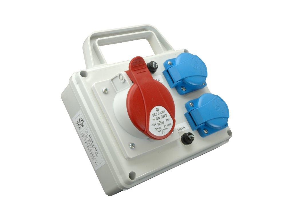 Rozvodnica zásuvková 4P ROSP 3230D 1x32A/400V+2x230V s držiakom SEZ DK