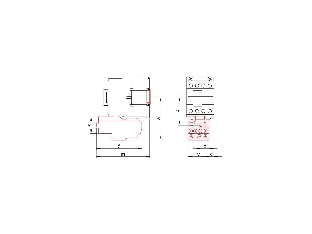 Tepelné nadprúdové relé k stykačom TR1F 0,63-1A, 1×NC+1×NO