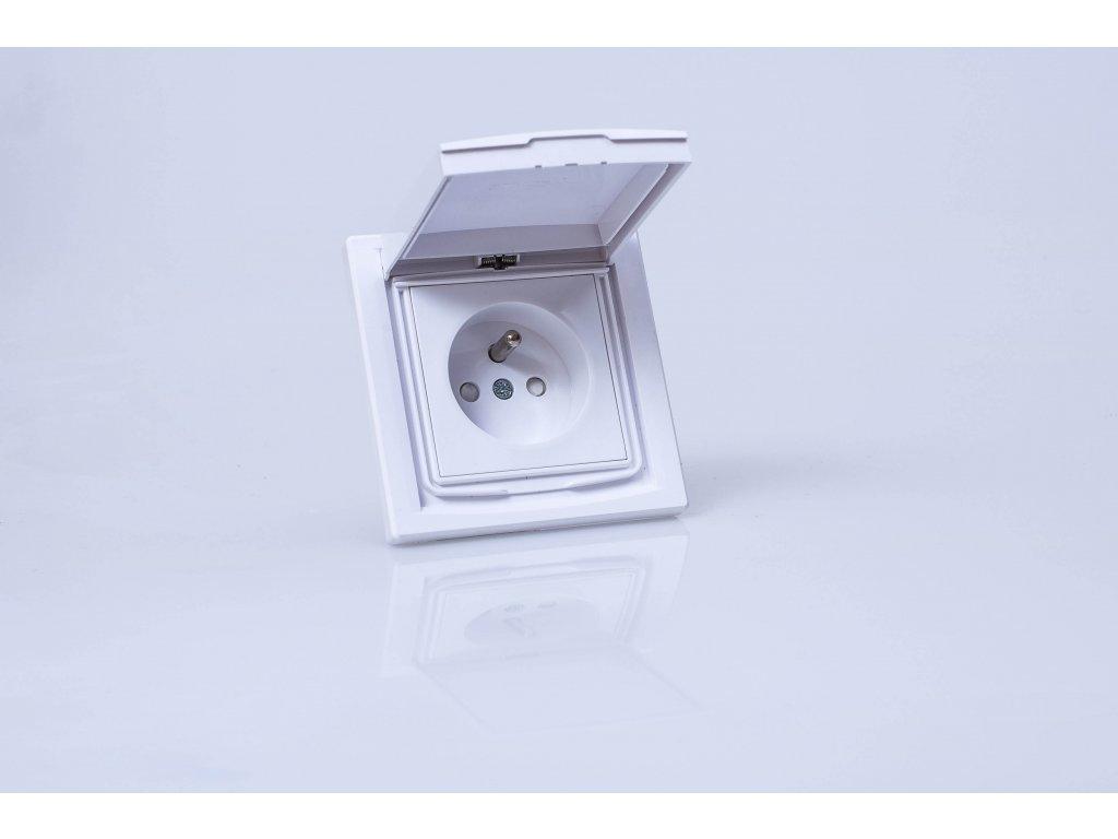 1-zásuvka Asfora IP44 biela EPH2800321 otvorená