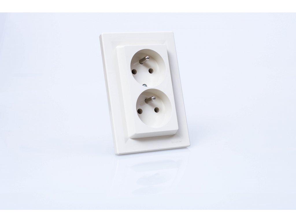 2-zásuvka Asfora krémová EPH9800123