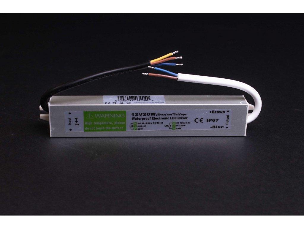 Napájací LED zdroj 12V 20W IP67 PL3120