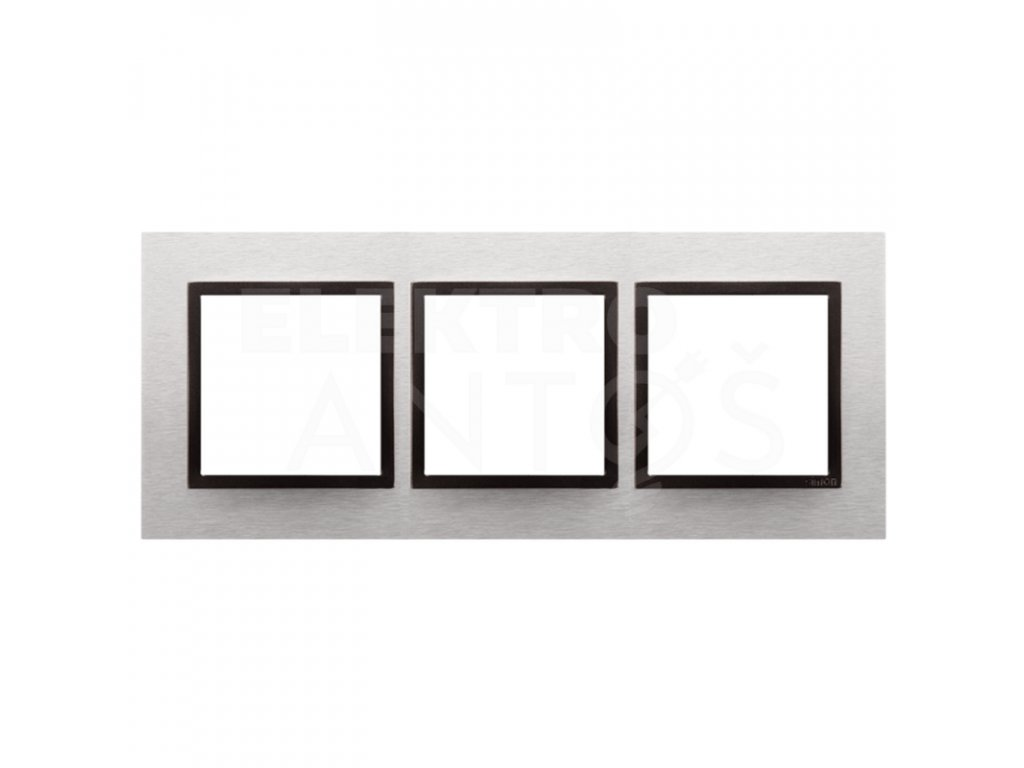 3-rámček Simon54 NATURE svetlý nerez/antracit kovový DRN3/76