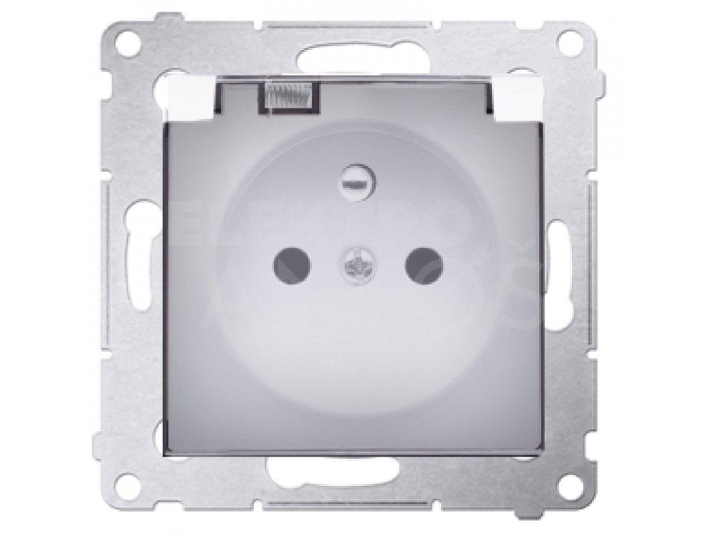 Zásuvka Simon54 PREMIUM/NATURE jednoduchá IP44 s krytkou, biela DGZ1BZ.01/11A Kontakt Simon