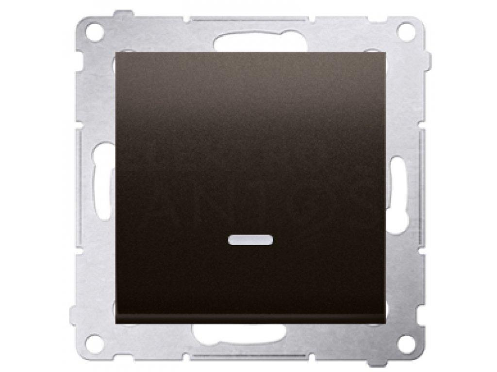 Vypínač č.1 Simon54 PREMIUM/NATURE s kontrolkou hnedý matný DW1L.01/46