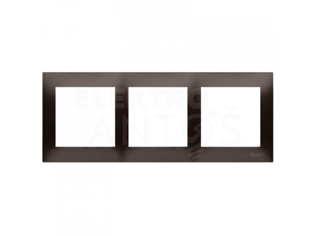 3-rámček Simon54 PREMIUM hnedý matný DR3/46