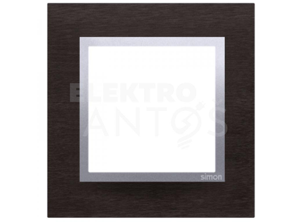 1-rámček Simon54 NATURE tmavý nerez/striebro kovový DRN1/78