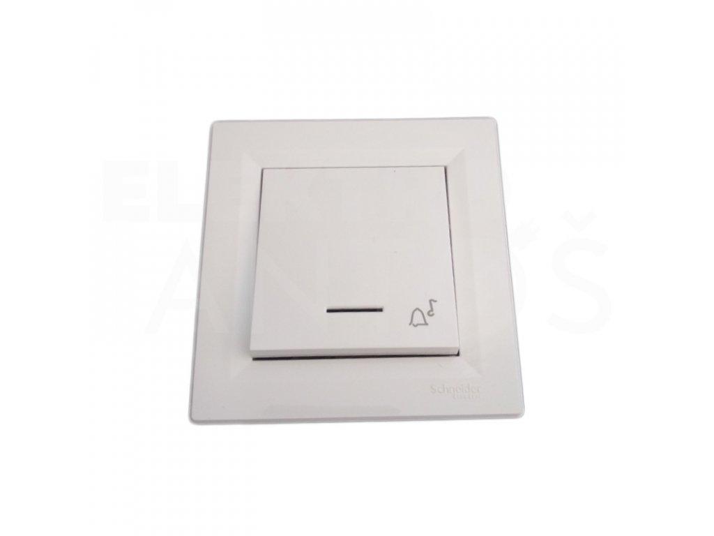 Zvončekové tlačidlo Asfora biele podsvietené EPH0800121P Schneider