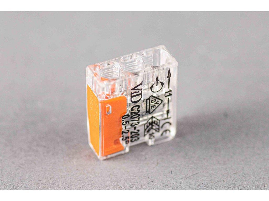 Oranžová wago krabicová svorka na káble jednorázová 2x