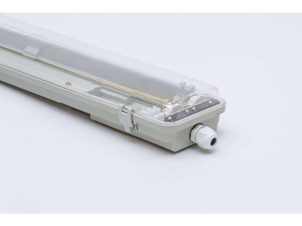 Prachotesné LED svietidlo 120cm 2x36W IP65 s trubicami priehľadné obojstranné napájanie 1135