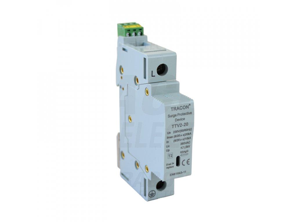AC zvodič prepätia, typ 2, vyberateľné moduly 230 V, 50 Hz, 10/20 kA (8/20 us), 1P TRTTV2-20-1P Tracon