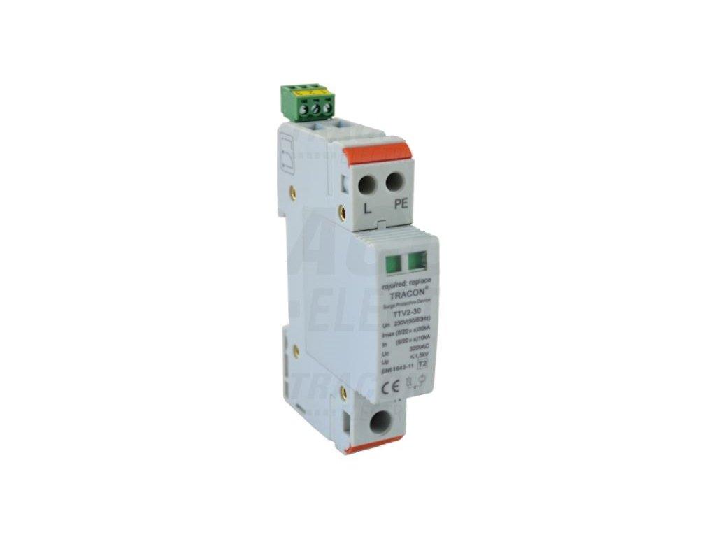 Zvodič prepätia typ 2, 1-modulový, vyber.mod. 230 V, 50 Hz, 15/30 kA (8/20 us), 1P+N/PE TRTTV2-30-1P-N/PE Tracon