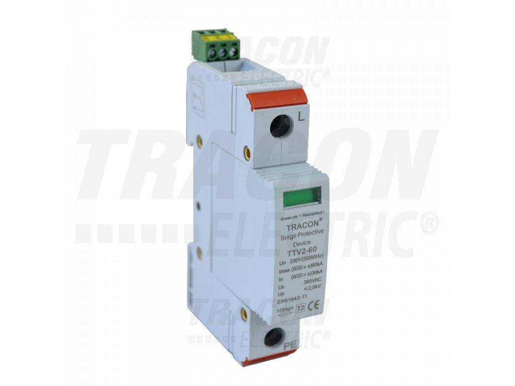 AC zvodič prepätia, typ 2, vyberateľné moduly 230 V, 50 Hz, 30/60 kA (8/20 us), 1P TRTTV2-60-1P Tracon