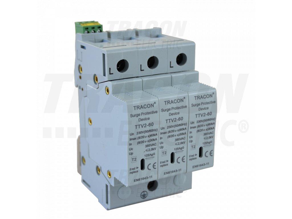 AC zvodič prepätia, typ 2, vyberateľné moduly 230/400 V, 50 Hz, 30/60 kA (8/20 us), 3P