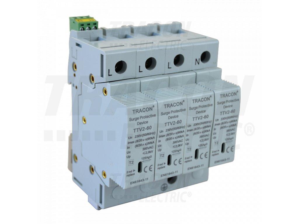 AC zvodič prepätia, typ 2, vyberateľné moduly 230/400 V, 50 Hz, 30/60 kA (8/20 us), 4P