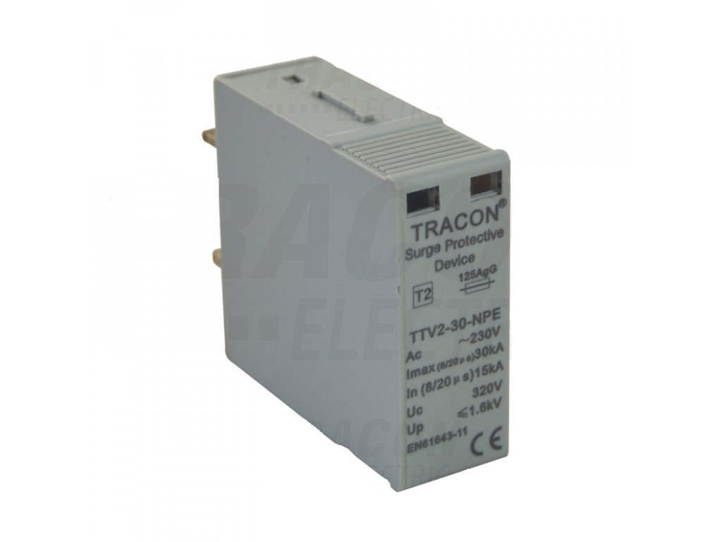 "Vložka do zvodiča prepätia AC typ 2 modul ""B"" 230/400V 15/30kA 1P+N/PE"