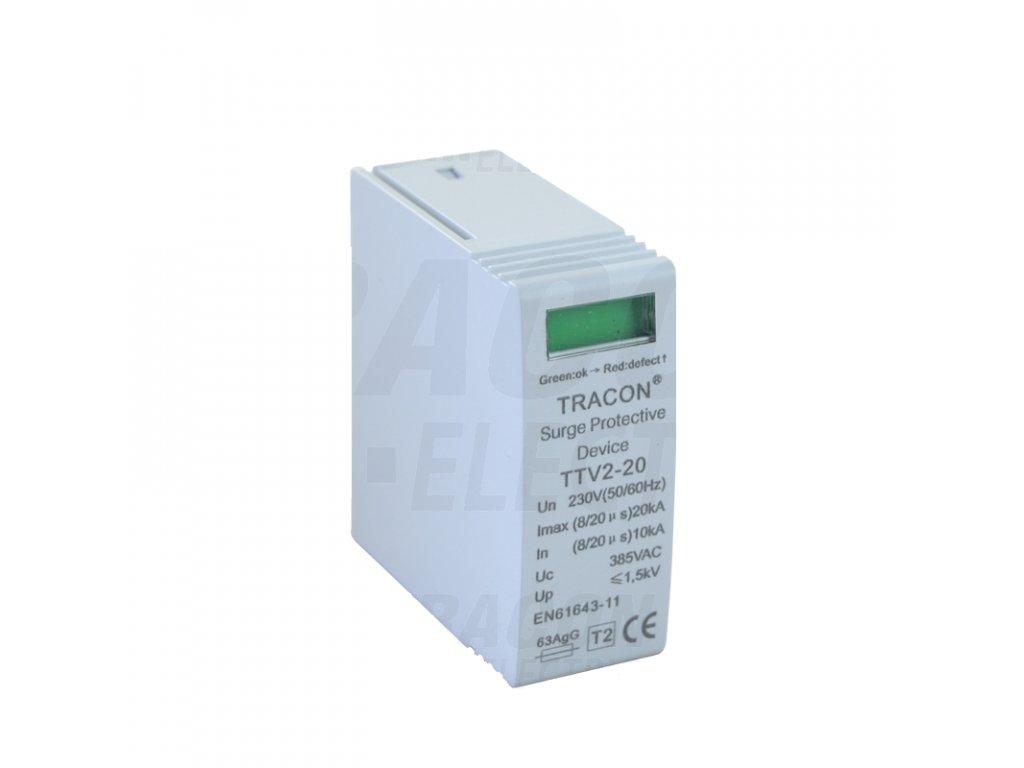 vložka AC zvodiča prepätia, typ 2 230 V, 50 Hz, 10/20 kA (8/20 us), 1P