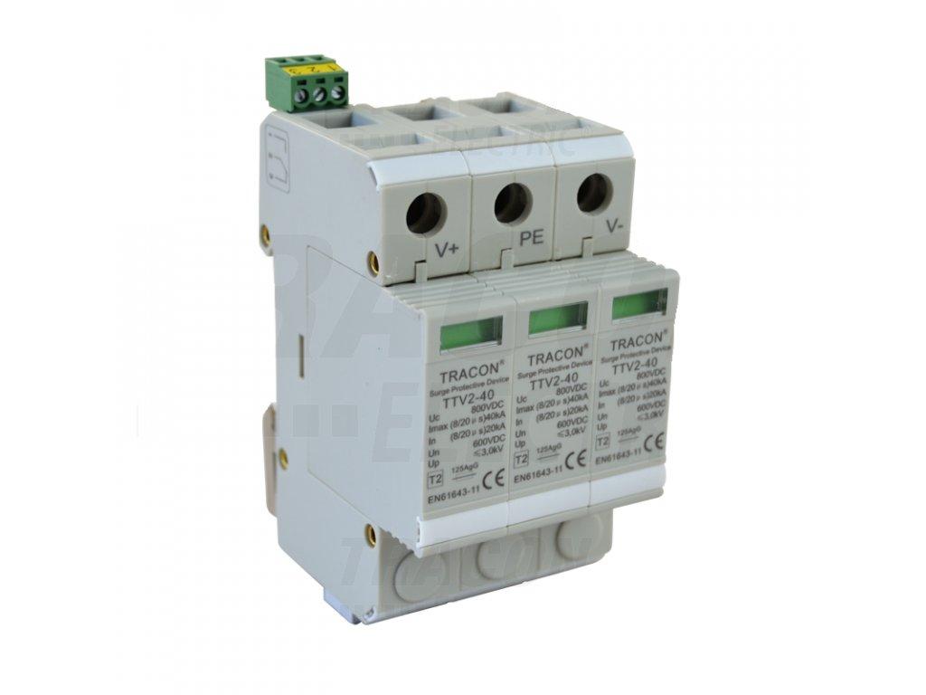 DC zvodič prepätia k systému PV, typ 2, 3 moduly 800 VDC, 20/40 kA (8/20 us), 2P