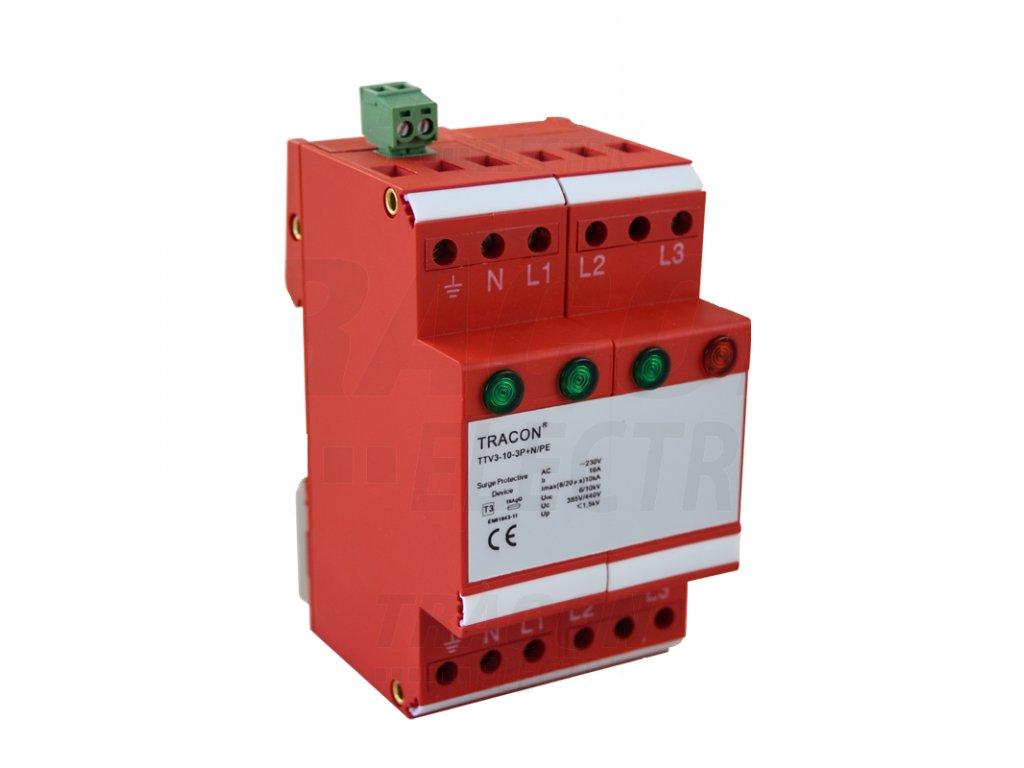 AC zvodič prepätia, typ 3, nevyberateľ. mod., 3 moduly 230/400 V, 50 Hz, 5/10 kA (8/20 us), 3P+N/PE