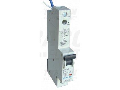 Kombinovaný prúdový chránič s nadprúdovou ochranou 1P B16A 30mA 10kA A/AC E3 KVKVB G16/30 Tracon