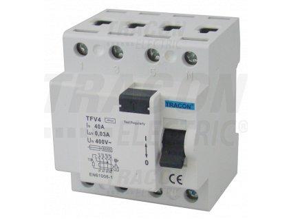 Prúdový chránič 4P 25A 30mA, 6kA AC TFV4-25030