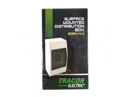 Rozvodná skriňa 1x4 modulová nadomietková priehľadné dymové dvere IP40 EDFK4/1 Tracon