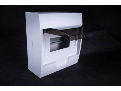 Rozvodná skriňa 1x8 modulová nadomietková priehľadné dymové dvere IP40 EDFK8/1