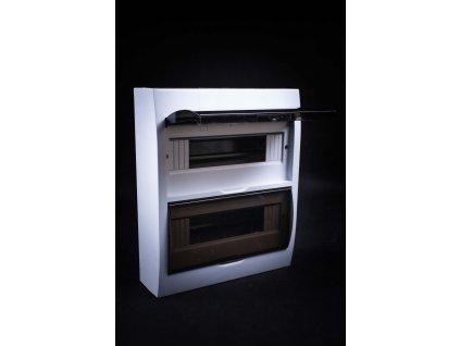 Rozvodná skriňa 24 modulová (2x12) nadomietková priehľadné dymové dvere IP40 EDFK12/2