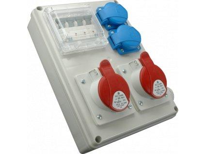 Rozvodnica zásuvková istená 4P ROS-I 1602 1x32A/400V+1x16A/400V+2x230V SEZ DK