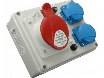 Rozvodnica zásuvková ROSP 3230 1x32A/400V+2x230V 4P SEZ DK