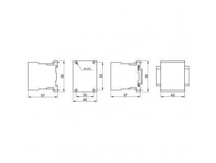 Miniatúrny stykač 660V, 50Hz, 12A, 5,5kW, 230V AC, 3×NO+1×NC