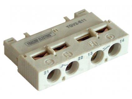 Blok čelných pomocných kontaktov k TGV2 podľa zabudovania 1xNO/NC TGV2-E1