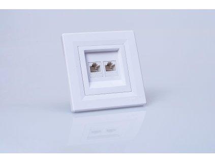 Dátová zásuvka Asfora 2xRJ45 Cat.5e UTP biela EPH4400121