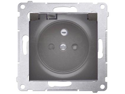 1-zásuvka Simon54 PREMIUM/NATURE IP44 strieborná matná DGZ1BZ.01/43A