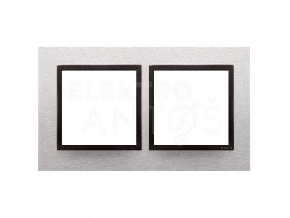2-rámček Simon54 NATURE svetlý nerez/antracit kovový DRN2/76