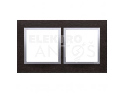 2-rámček Simon54 NATURE tmavý nerez/striebro kovový DRN2/78