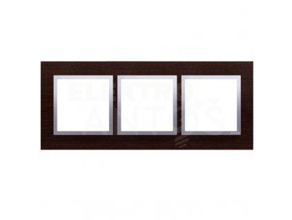 3-rámček Simon54 NATURE strieborné wengé drevený DRN3/84