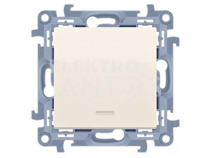 Vypínač Simon10 jednopólový č.1s kontrolkou-krémový lesklý CW1L.01/41 Kontakt Simon