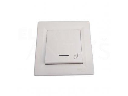Zvončekové tlačítko biele podsvietené ASFORA EPH0800121P Schneider