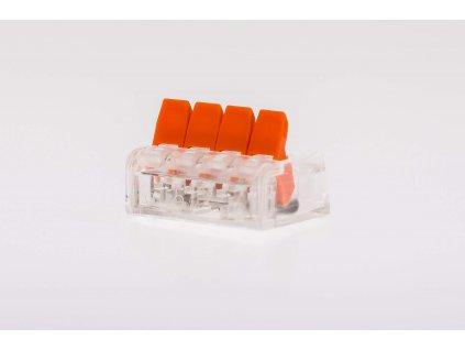 Oranžová wago krabicová svorka na káble otvárateľná 4x