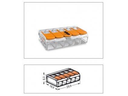 Oranžová wago krabicová svorka na káble otvárateľná 5x