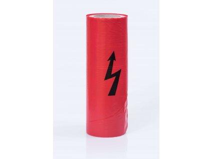 Červená elektrikárska výstražná fólia s bleskom LDPE 230/330mm