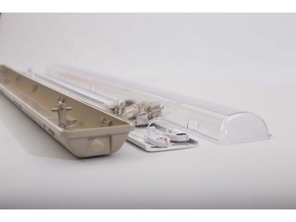 Prachotesné svietidlo 60cm 2x18W IP65 priehľadné na jednostranné LED trubice PL1156