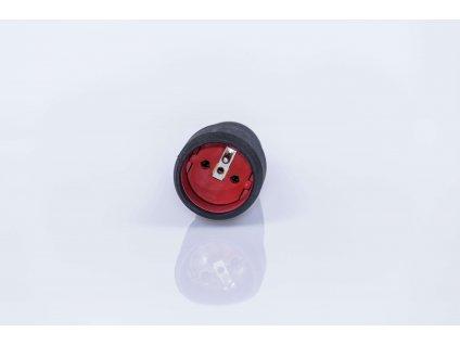 Pologumená zásuvka čierno-červená 16A/250V 0.452GTA spredu